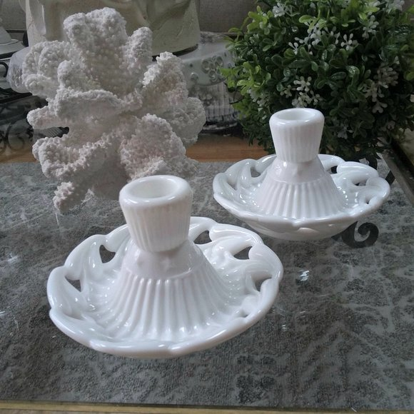 EXQUISITE Vintage MILK Glass CANDLE Holders